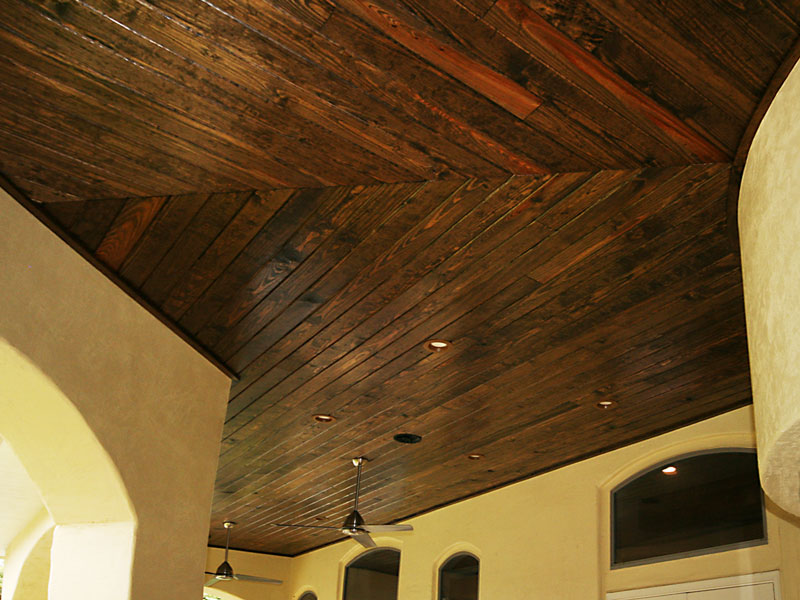 Stained Tongue And Groove Patio Ceiling